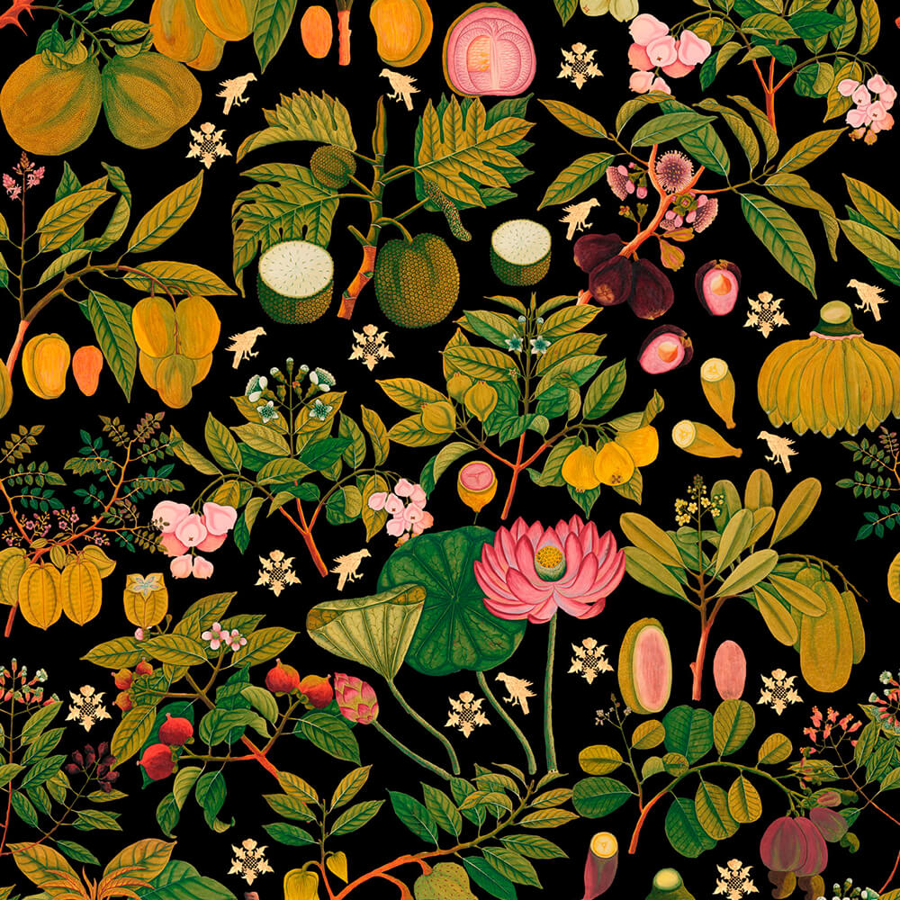 Asian Fruits And Flowers Anthracite Wallpaper, Mind the Gap, Mind the Gap 2019, Wall to Wall Wallpaper | Contemporary Wallpaper Online NZ
