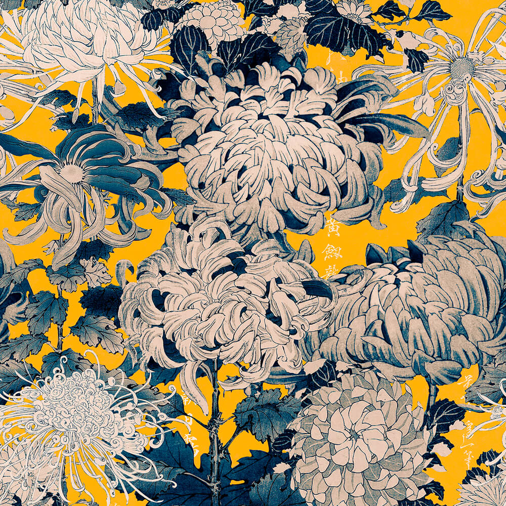 Chrysanthemums Yellow Wallpaper, Mind the Gap, Mind the Gap 2019, Wall to Wall Wallpaper | Contemporary Wallpaper Online NZ