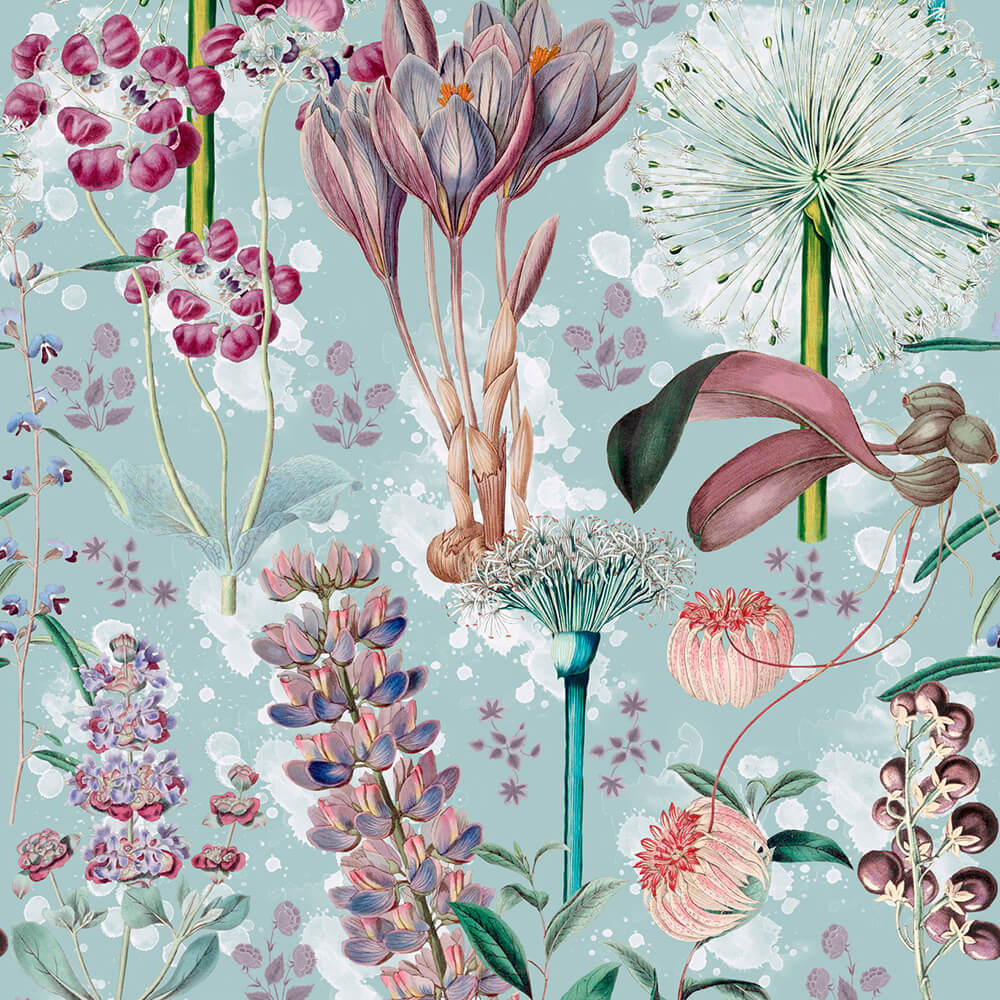 Garden Of Eden Aquamarine Wallpaper, Mind the Gap, Mind the Gap 2019, Wall to Wall Wallpaper | Contemporary Wallpaper Online NZ