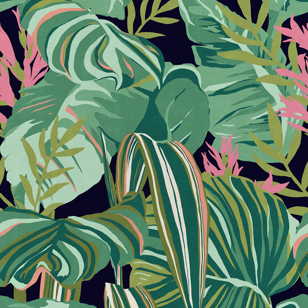 Tropical Foliage Anthracite Wallpaper, Mind the Gap, Mind the Gap 2019, Wall to Wall Wallpaper | Contemporary Wallpaper Online NZ