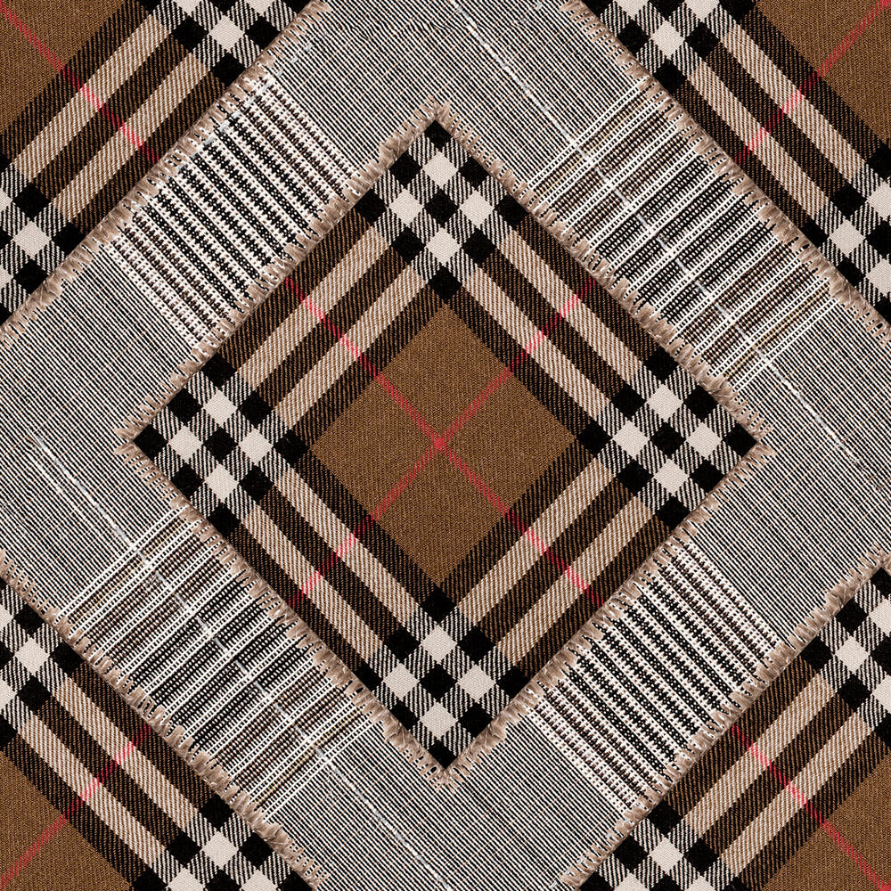 Checkered Patchwork British Mid Brown Wallpaper, Mind the Gap, Mind the Gap 2019, Wall to Wall Wallpaper | Contemporary Wallpaper Online NZ
