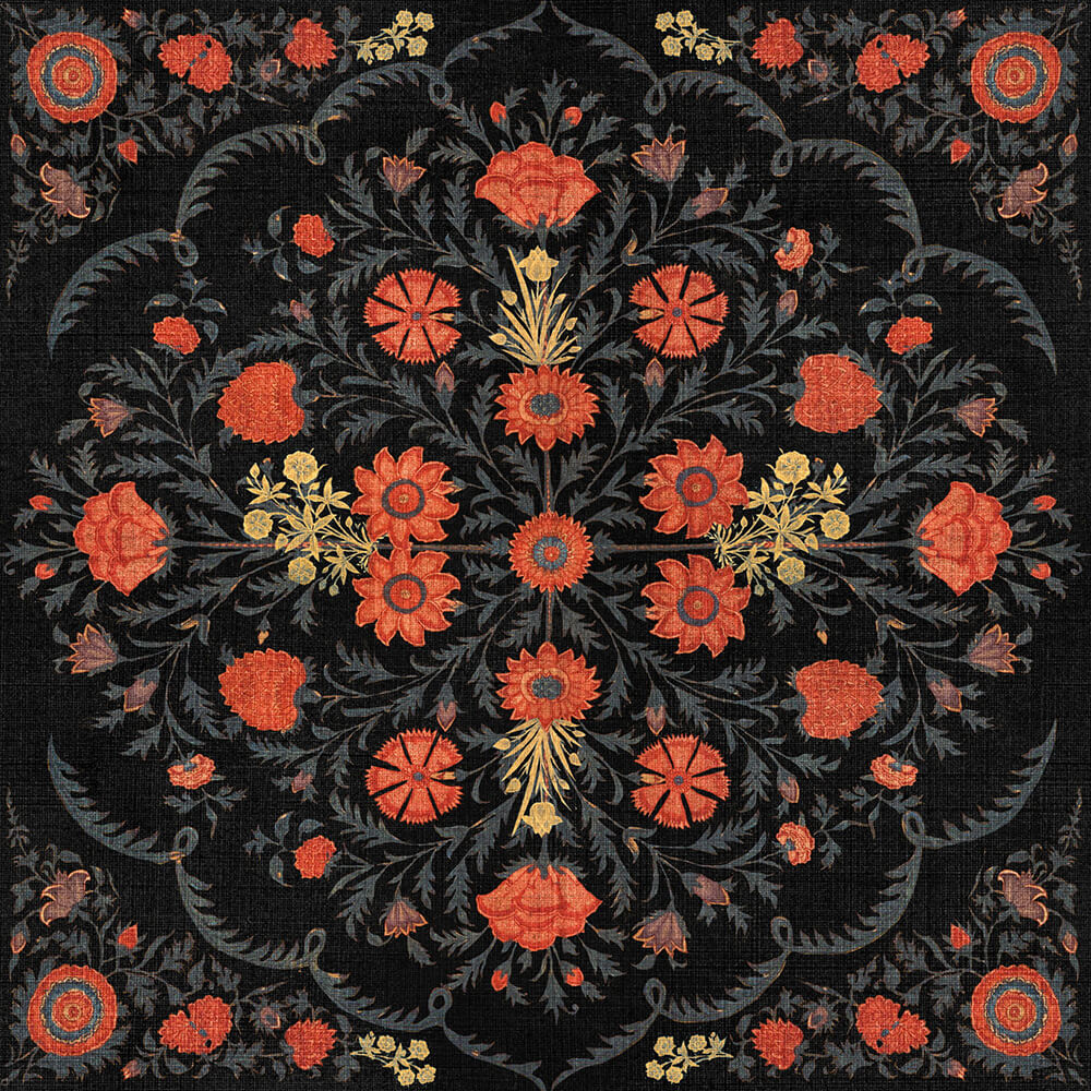 Hindu Bloom Anthracite Wallpaper, Mind the Gap, Mind the Gap 2019, Wall to Wall Wallpaper | Contemporary Wallpaper Online NZ