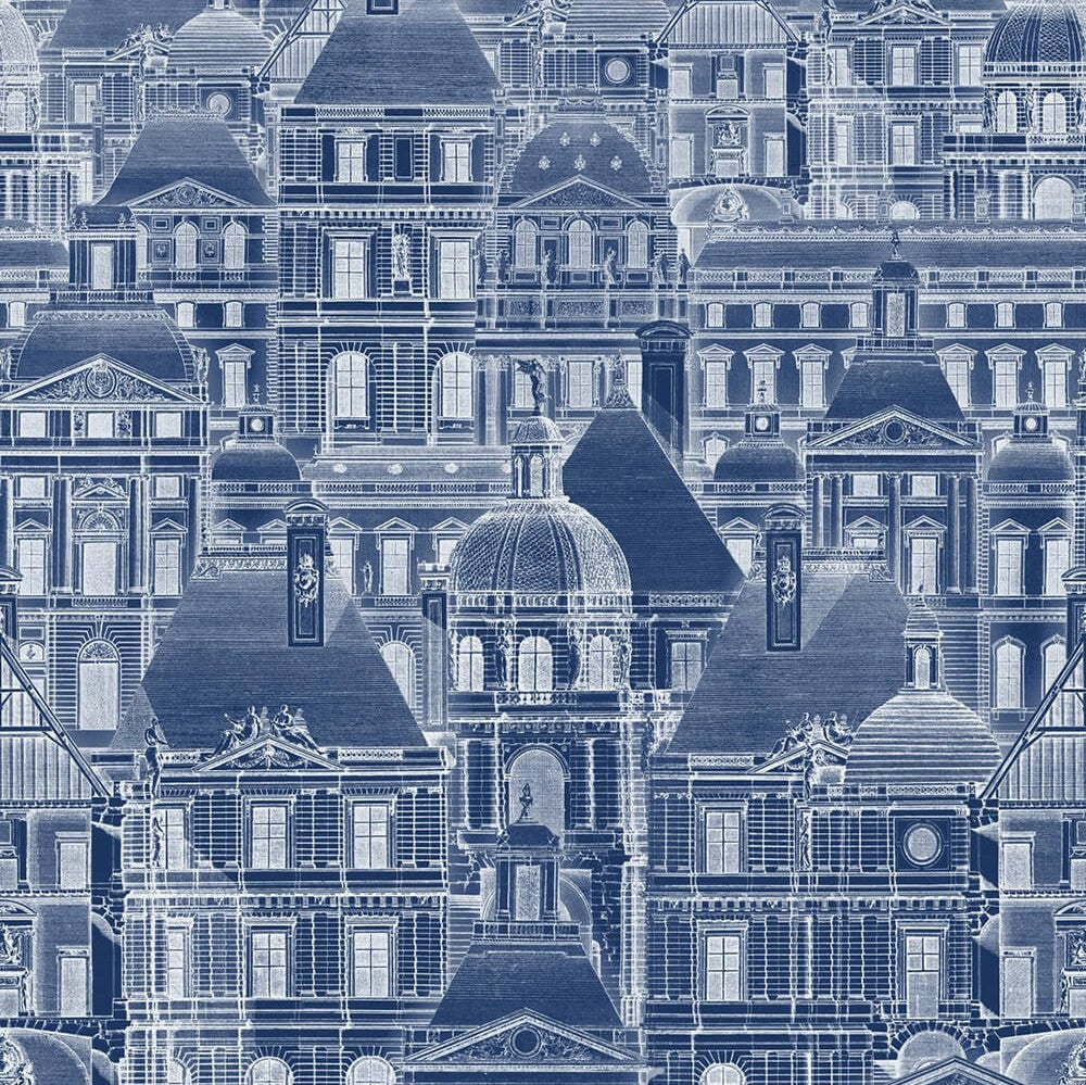 Louvre Blue Wallpaper, Mind the Gap, Mind the Gap 2017, Wall to Wall Wallpaper | Contemporary Wallpaper Online NZ