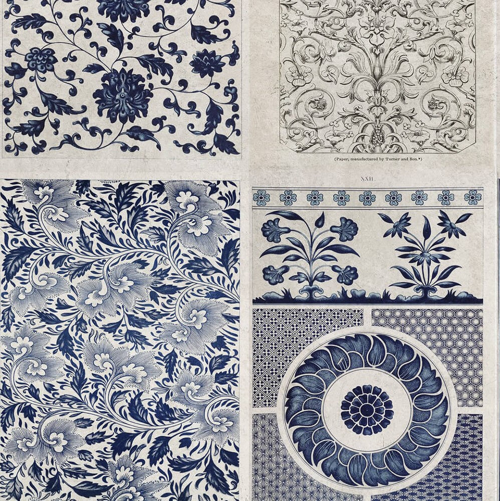 Chinese Pattern Blue Wallpaper, Mind the Gap, Mind the Gap 2017, Wall to Wall Wallpaper | Contemporary Wallpaper Online NZ