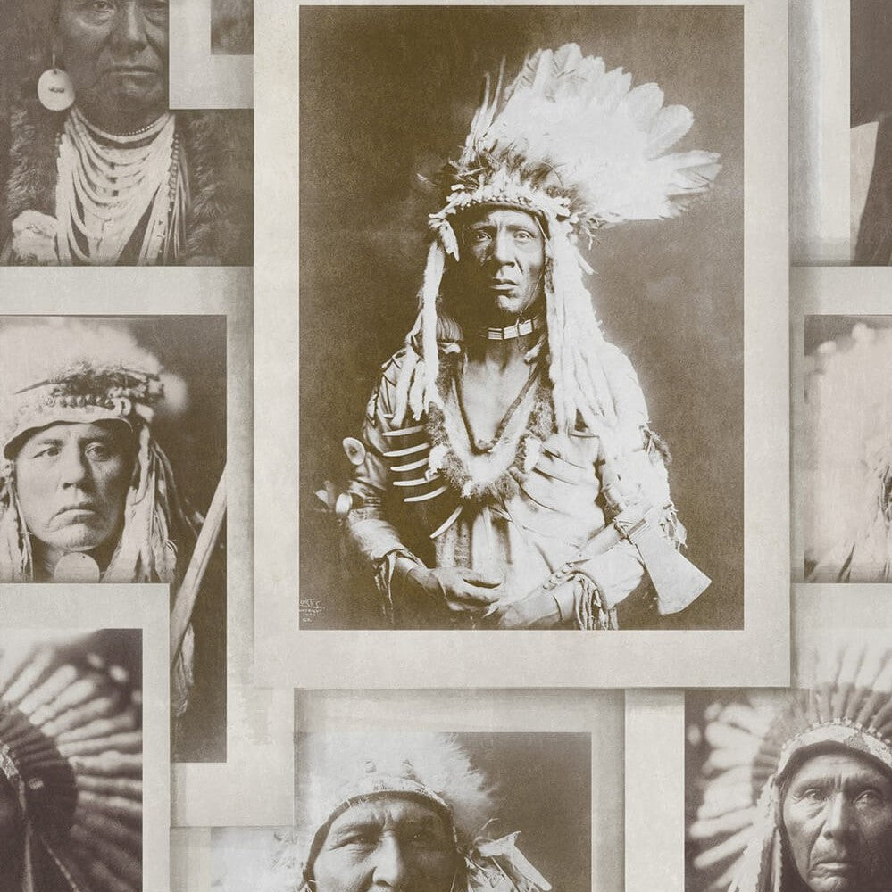 Indian Chiefs Sepia Wallpaper, Mind the Gap, Mind the Gap 2017, Wall to Wall Wallpaper | Contemporary Wallpaper Online NZ