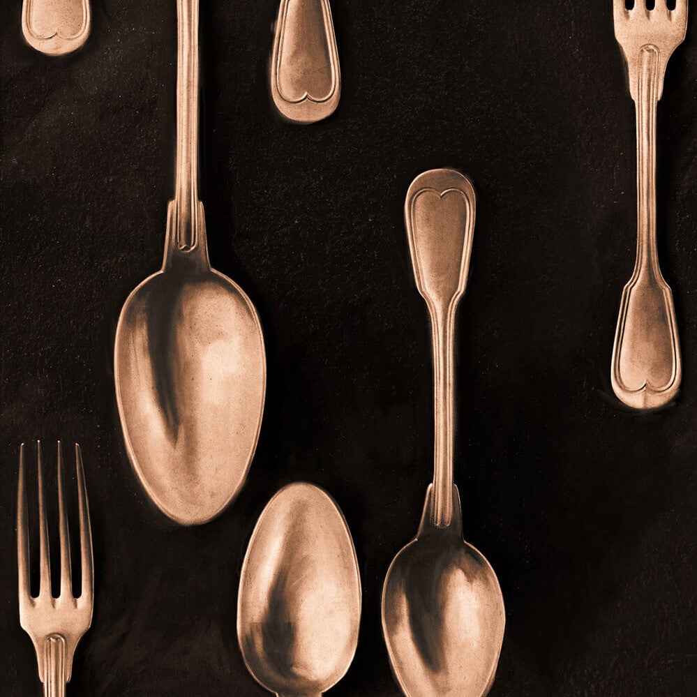 Cutlery Copper Wallpaper, Mind the Gap, Mind the Gap 2018, Wall to Wall Wallpaper | Contemporary Wallpaper Online NZ