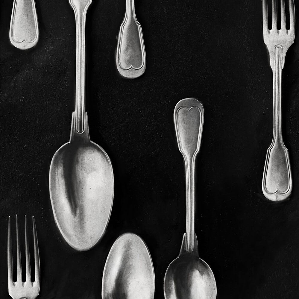Cutlery Silver Wallpaper, Mind the Gap, Mind the Gap 2018, Wall to Wall Wallpaper | Contemporary Wallpaper Online NZ