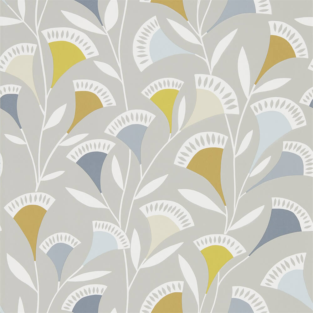 Noukku Dandelion Butterscotch Charcoal Wallpaper, Scion, Noukku, Wall to Wall Wallpaper | Contemporary Wallpaper Online NZ