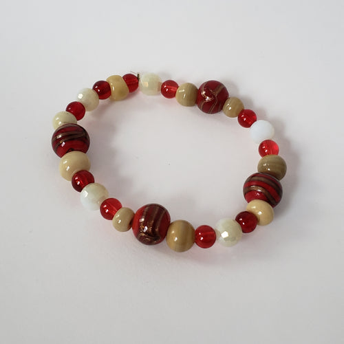 Red & Taupe Bracelet