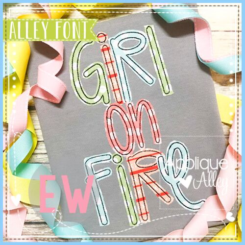 GIRL ON FIRE APPLIQUE FONT AAEW