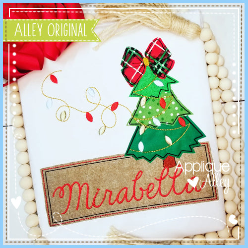 CHRISTMAS TREE BOW WITH LIGHT STRING NAME PLATE 5187AAEH