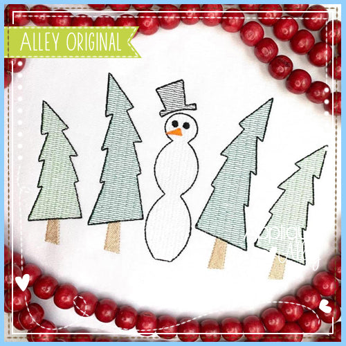 SCRATCHY SNOWMAN WITH TREES 5034AAEH