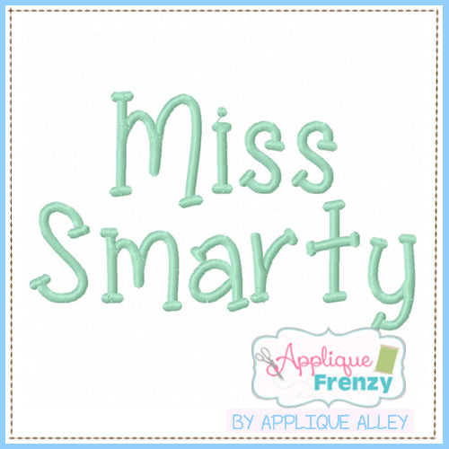 MISS SMARTY EMRBOIDERY FONT 5217AAAF