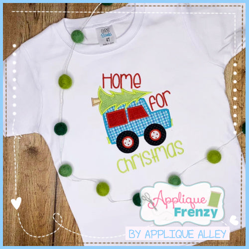 BRINGING HOME THE CHRISTMAS TREE TRUCK APPLIQUE DESIGN 5221AAAF