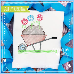 SCRIBBLED WHEELBARROW HOLDING FLOWERS 5524AAEH
