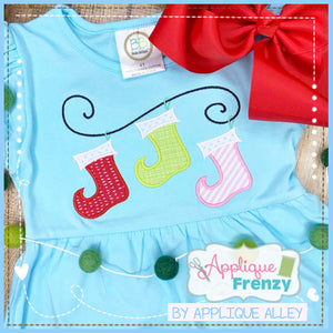STOCKING WHIMSY TRIO APPLIQUE DESIGN 5220AAAF