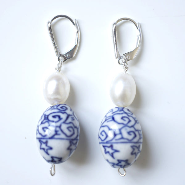 SHANGHAI PORCELAIN & PEARL EARRINGS