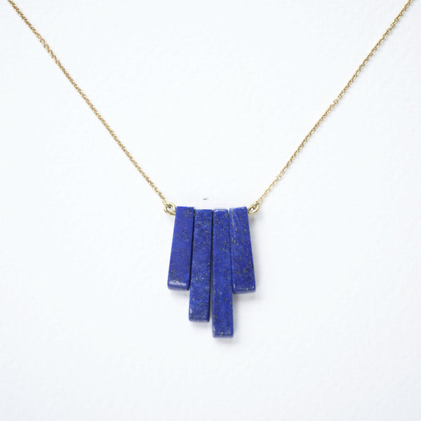 GEOMETRIC GOLD LAPIS NECKLACE