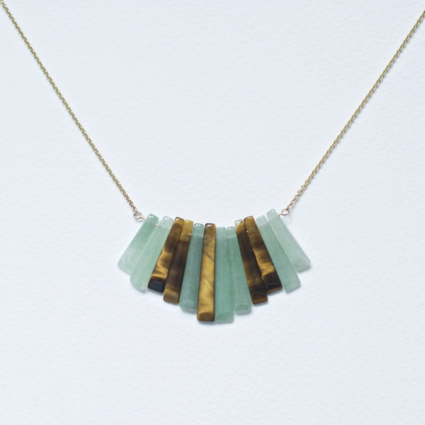 *GEOMETRIC GOLD TIGER EYE & CHRISOPRAZE NECKLACE