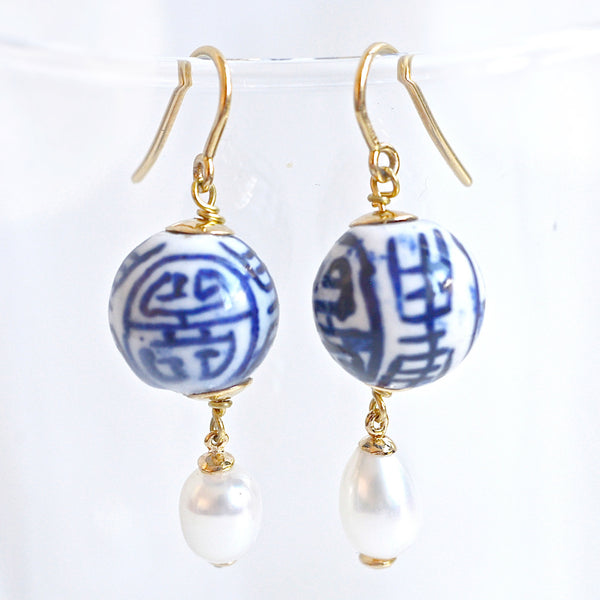 SHANGHAI PORCELAIN GOLD & PEARL EARRINGS