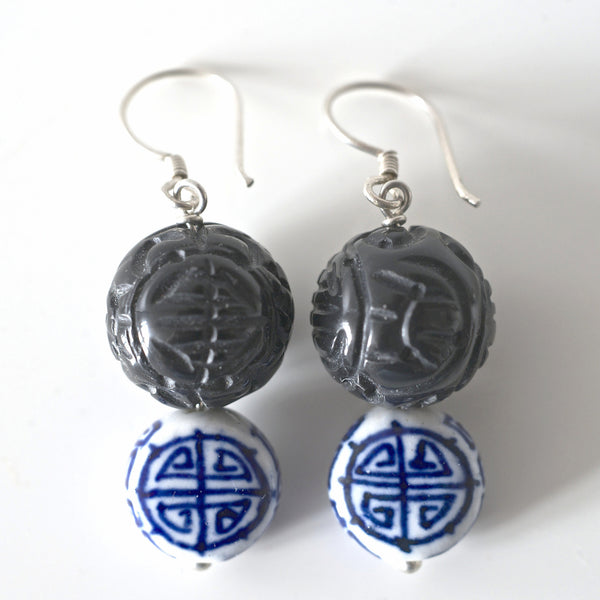 *SHANGHAI PORCELAIN & ONYX DOUBLE HAPPINESS EARRINGS