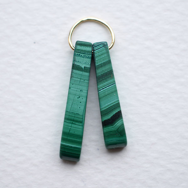 *GEOMETRIC MALACHITE DOUBLE PENDANT