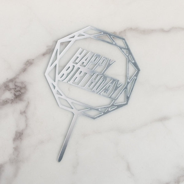 Hexagon Silver Cake Topper - Happy Birthday