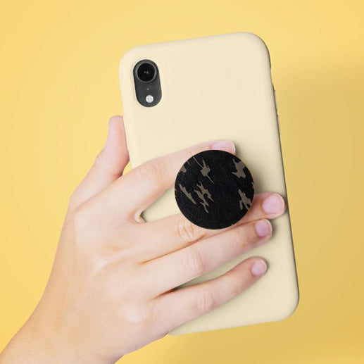 Black Abstract Print Pop Socket