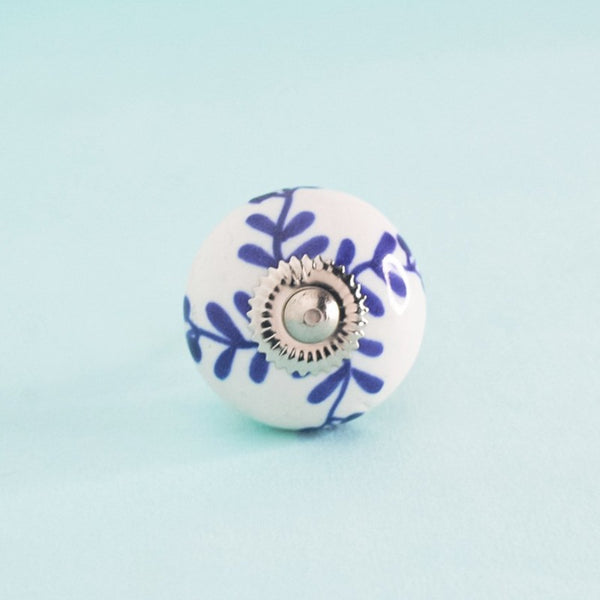 Indigo Leaves Hand Painted Ceramic Knob