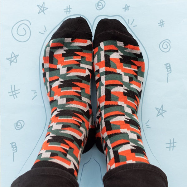 Black & Orange Abstract - Socks