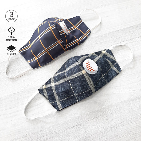 Pack of Two: Striped Face Mask with Valve