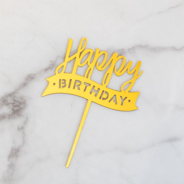 Gold Cake Topper - Happy Birthday