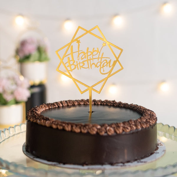 Double Square Gold Cake Topper - Happy Birthday