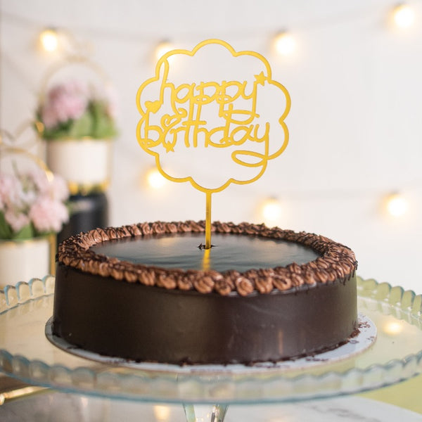 Cloud Shaped Gold Cake Topper - Happy Birthday