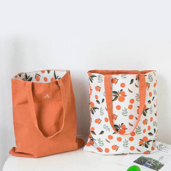 Orange Print Reversible Shoulder Bag