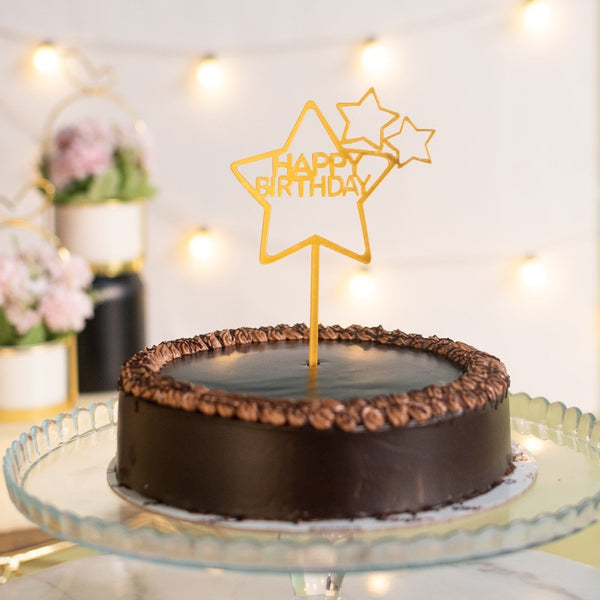 Star Gold Cake Topper - Happy Birthday