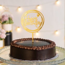 Circles Gold Cake Topper - Happy Birthday