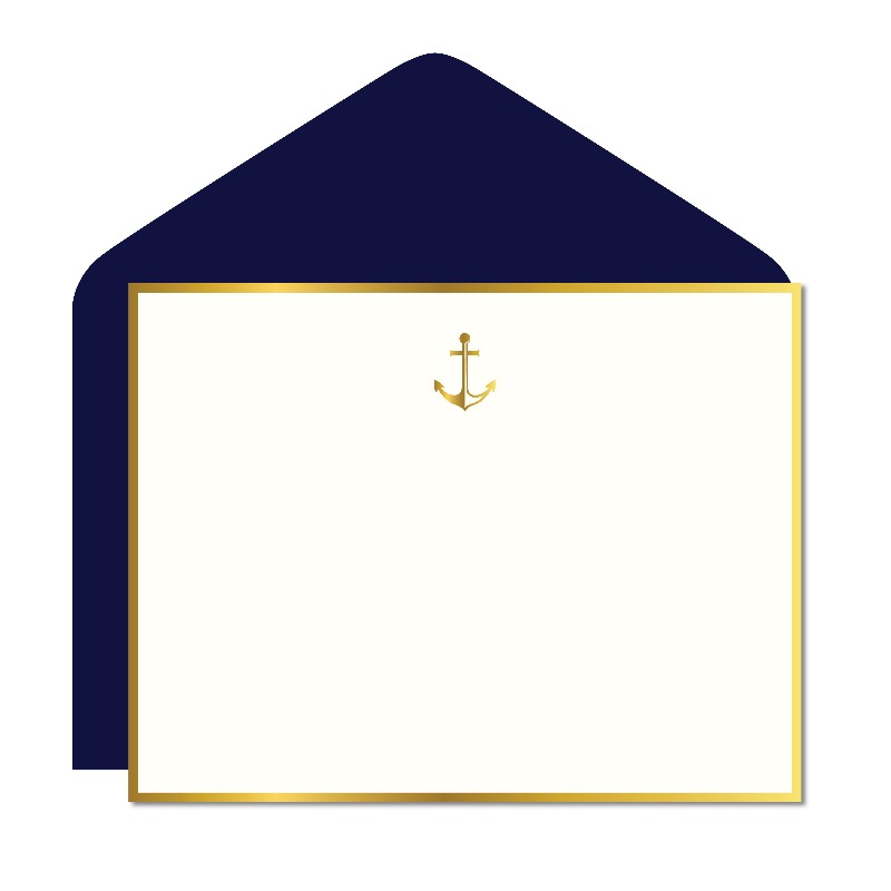 Anchor Monogram Flat Card+ Envelope- Set of 5