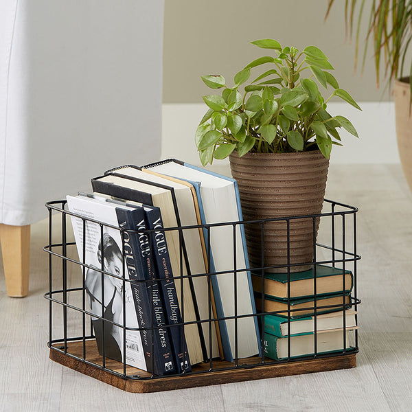 Black Metal Wire Basket Storage
