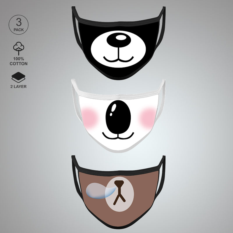 Pack of Three: Bear Face Mask