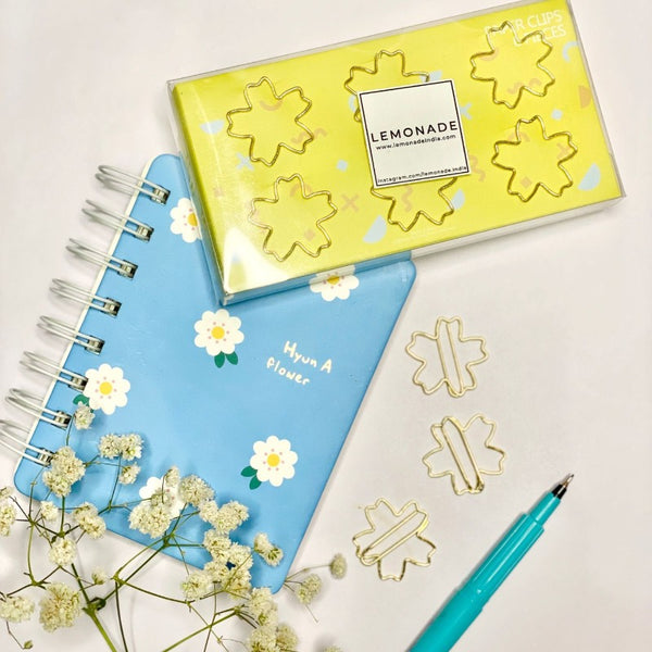 Bookmark/Paper Clips - Flower Power - Gold - Set of 6
