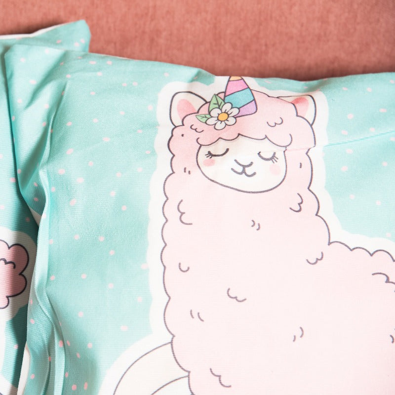 Unicorn Llama Print Cushion Cover (Set of 2)