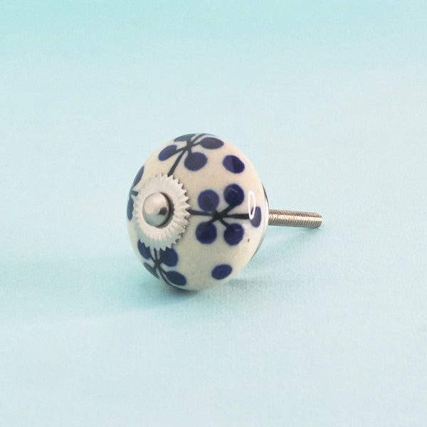 Indigo Branches Hand Painted Ceramic Knob