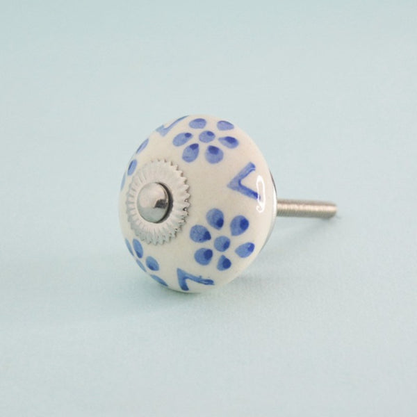 Indigo Bloom Hand Painted Ceramic Knob