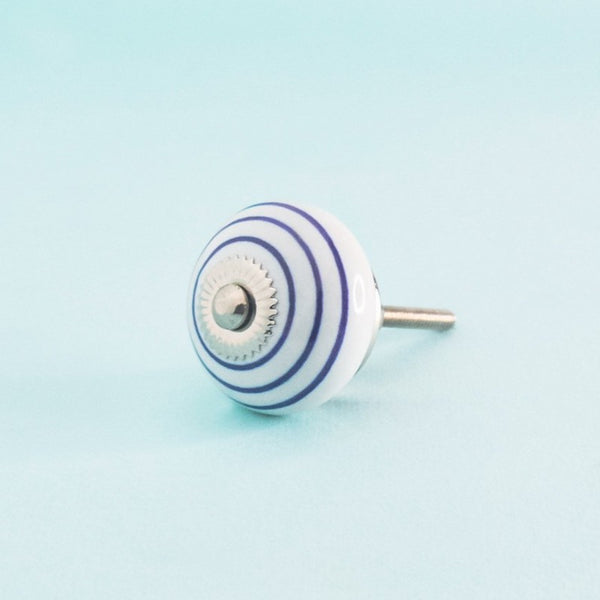 Indigo Rings Hand Painted Ceramic Knob