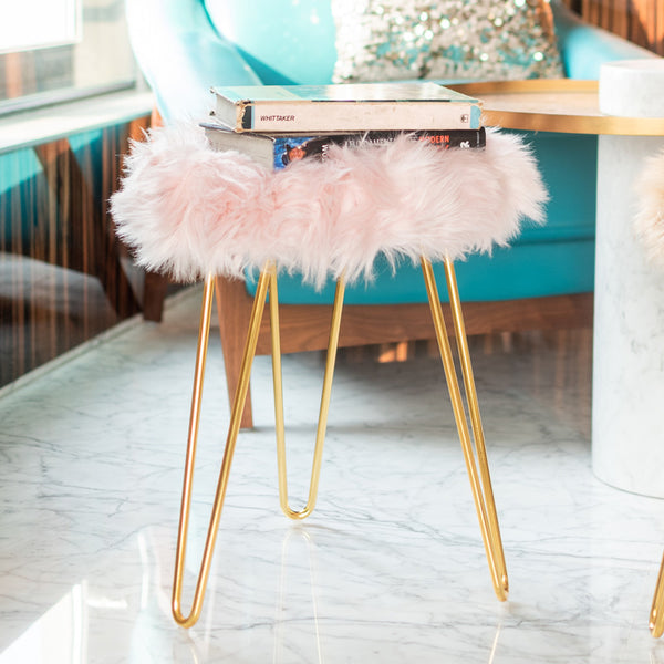 Fur Stool - Light Pink