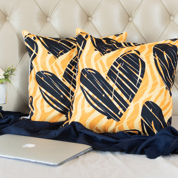Heart Print Cushion Covers (Set of 2)