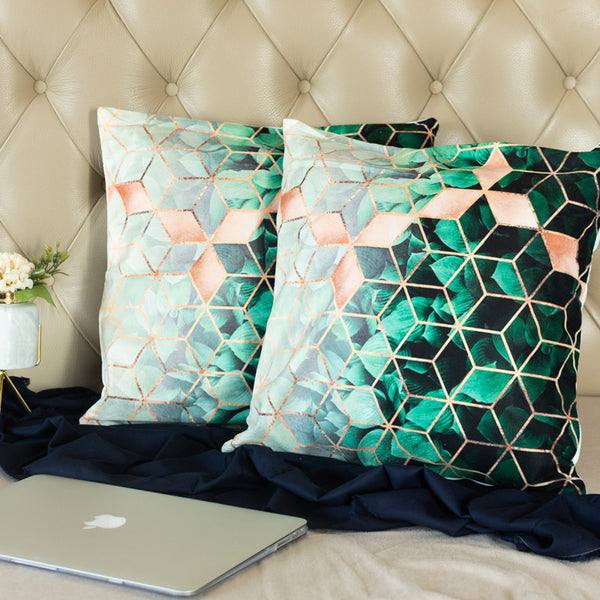 Green Geometric Print Cushion Covers (Set of 2)
