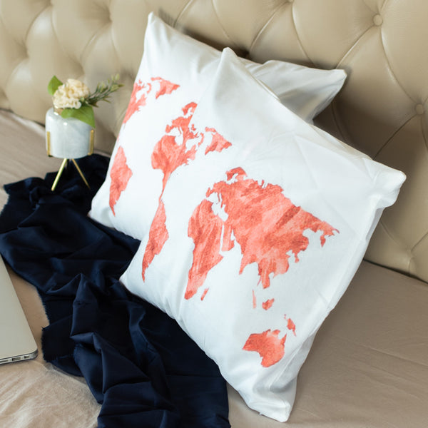 World Map Cushion Covers (Orange & White) (Set of 2)
