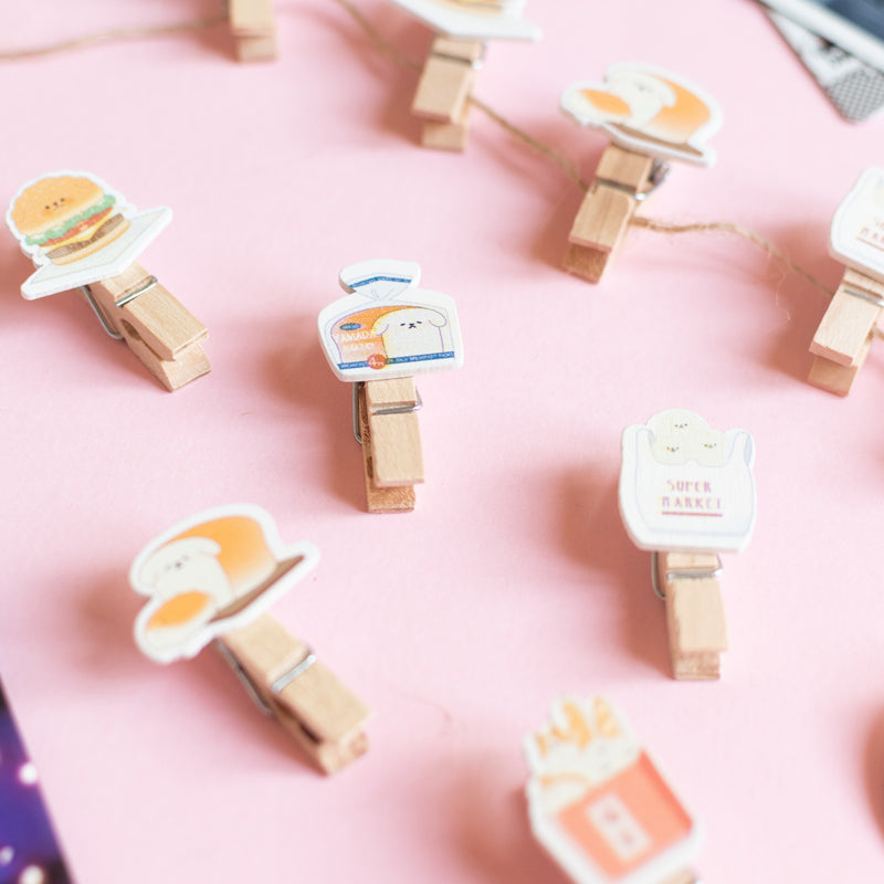 Wooden Paper Clips With String - Fast Food - Set of 10